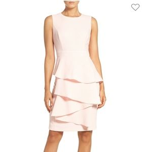 Eliza J Ella Ruffle Cascade Crepe Sheath Dress